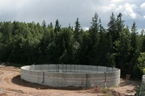 Construction of monolithic reinforced concrete tank walls in Vainode