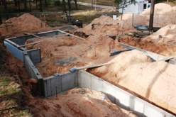 Foundation construction of a dwelling house