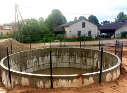 Construction of monolithic concrete tank in Cesis